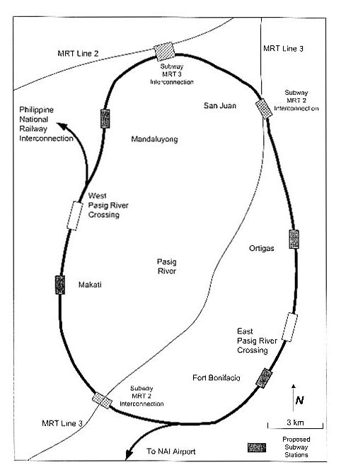 map of the proposed route of the manila subway system